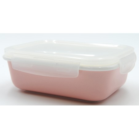 TUPPER PORCELANA 600 ml ROSA RECTANGULAR